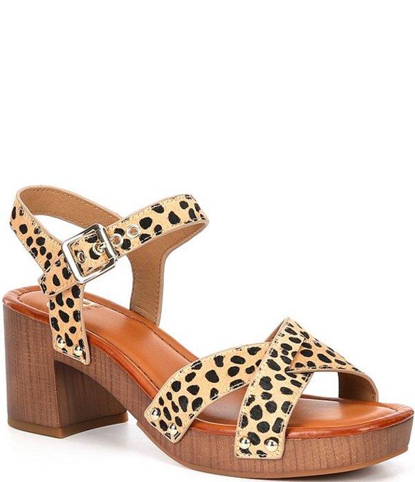 ジービー レディース サンダル シューズ Far-Out Cheetah Haircalf Wood Heel Platform Sandals Tan/Black