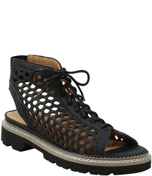 ラモールドピード レディース サンダル シューズ L'amour Des Pieds Perforated Lace Up Sandals Black Distress