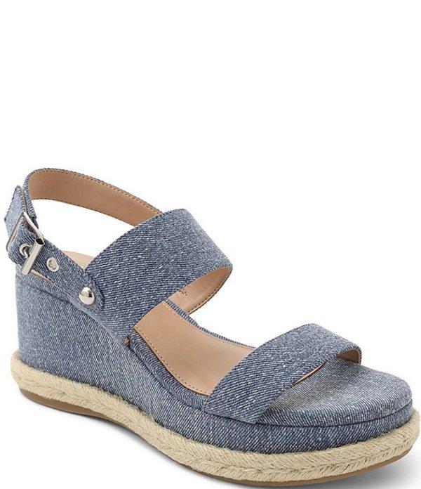 BCBジェネレーション レディース サンダル シューズ Allia Denim Fabric Espadrille Wedge Sandals Denim