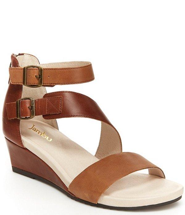 ジャンブー レディース サンダル シューズ Capri Colorblock Leather Wedge Sandals Brown/Latte