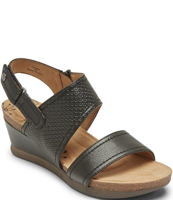 ロックポート レディース サンダル シューズ Cobb Hill Shona Slingback Leather Wedge Sandals Black