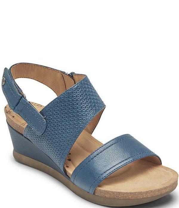 ロックポート レディース サンダル シューズ Cobb Hill Shona Slingback Leather Wedge Sandals Teal