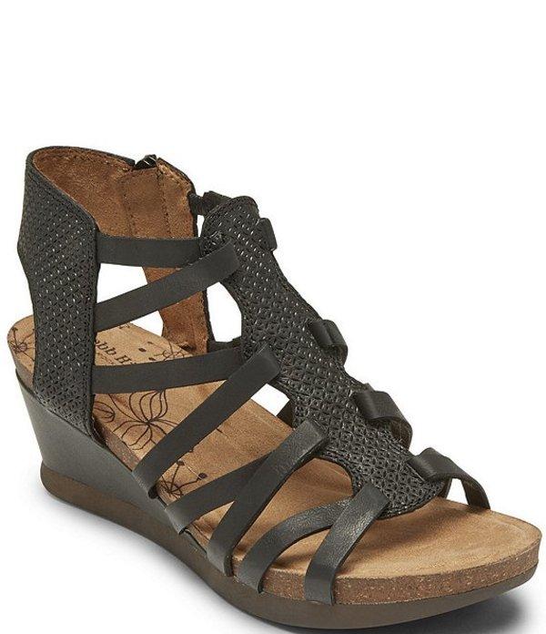 ロックポート レディース サンダル シューズ Cobb Hill Shona T-Strap Leather Wedge Sandals Black