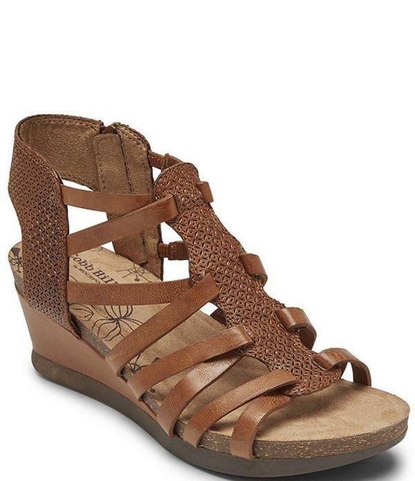 ロックポート レディース サンダル シューズ Cobb Hill Shona T-Strap Leather Wedge Sandals Tan