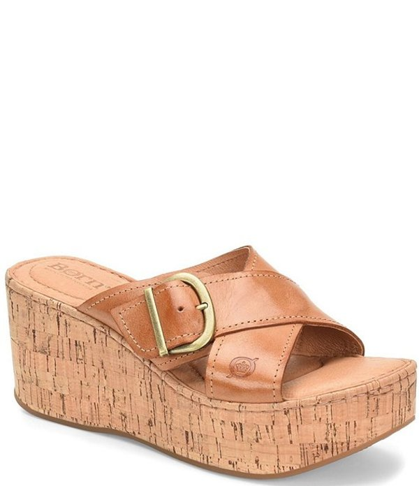 ボーン レディース サンダル シューズ Devona Banded Leather Wedge Slide Sandals Tan