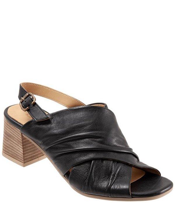 ブエノ レディース サンダル シューズ Eden Ruched Leather Block Heel Sling Sandals Black