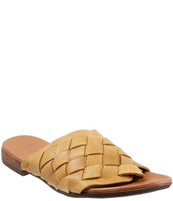 ブエノ レディース サンダル シューズ Tory Woven Leather Thong Slide Sandals Yellow