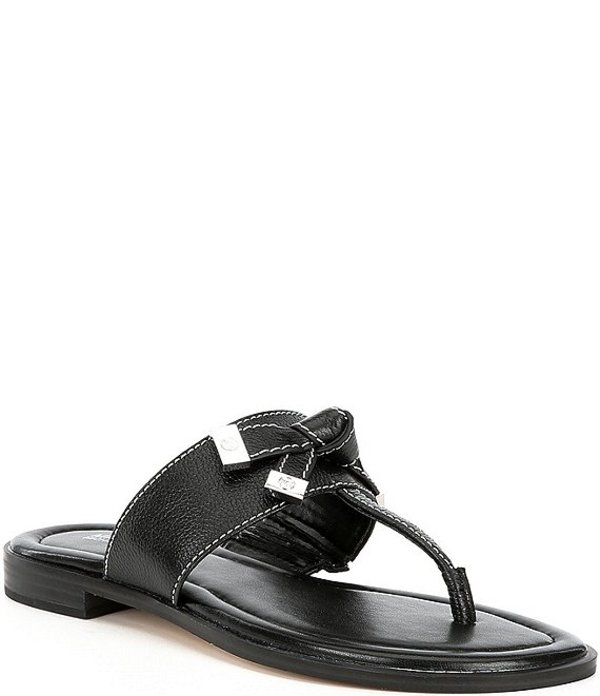マイケルコース レディース サンダル シューズ MICHAEL Michael Kors Ripley Metallic Leather Thong Sandals Black