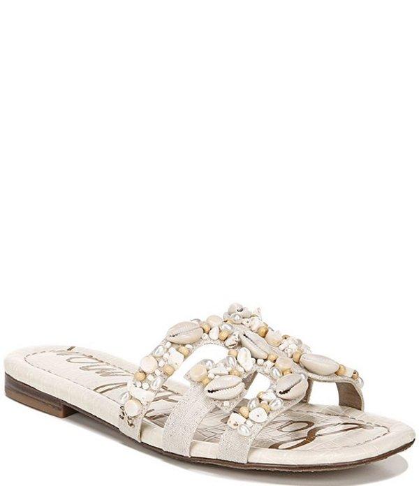 サムエデルマン レディース サンダル シューズ Bay 11 Bead and Puka Shell Embellished Linen Sandals Natural