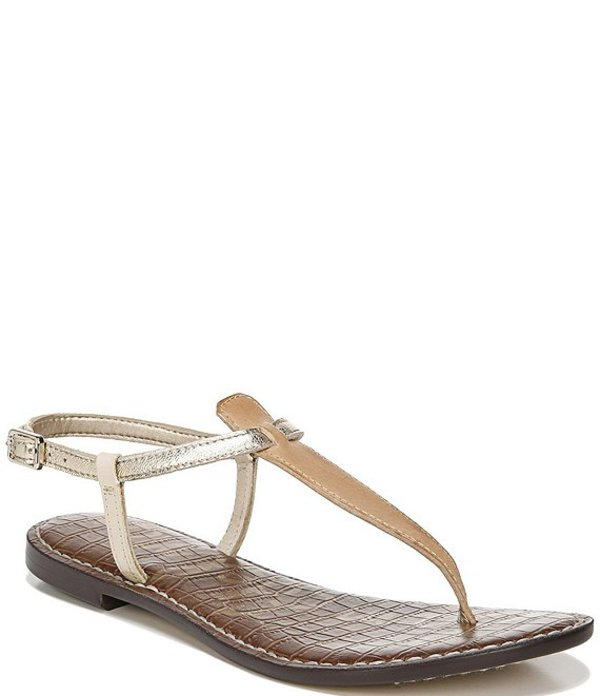 サムエデルマン レディース サンダル シューズ Gigi Leather Colorblock T-Strap Sandals Natural Sand/Molten Gold/Summer Sand
