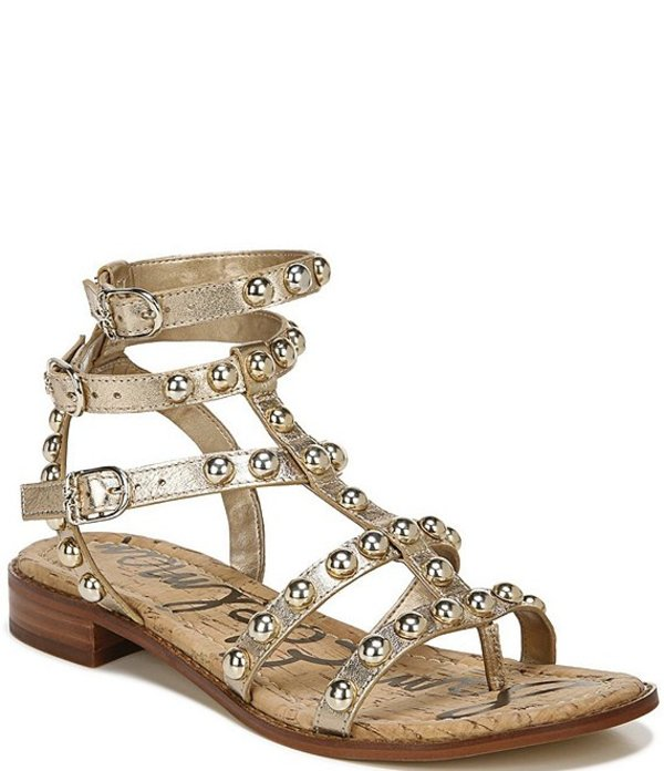 サムエデルマン レディース サンダル シューズ Eavan Studded Metallic Leather Gladiator Sandals Molten Gold