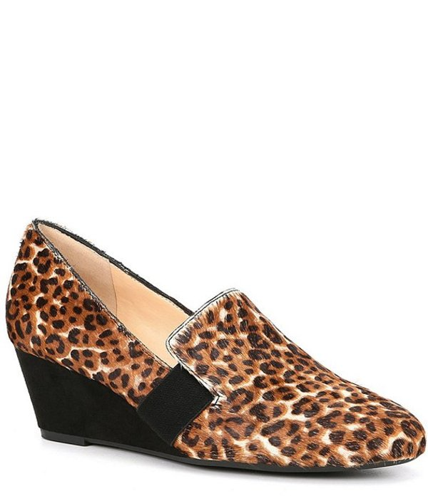 アレックスマリー レディース サンダル シューズ Kindee Leopard Haircalf Elastic Wedge Loafers Neutral/Black