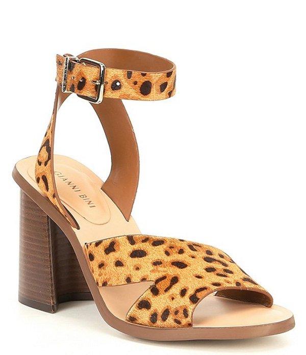 ジャンビニ レディース サンダル シューズ Marilane Leopard Haircalf Asymmetrical Wooden Block-Heel Sandals Natural