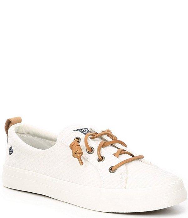 スペリー レディース スニーカー シューズ Crest Vibe Seersucker Stripe Sneakers White/White
