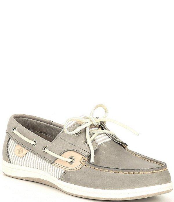 スペリー レディース デッキシューズ シューズ Koifish Leather & Seersucker Stripe Boat Shoes Cement