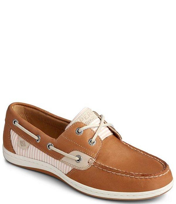 スペリー レディース デッキシューズ シューズ Koifish Leather & Seersucker Stripe Boat Shoes Linen/Pink