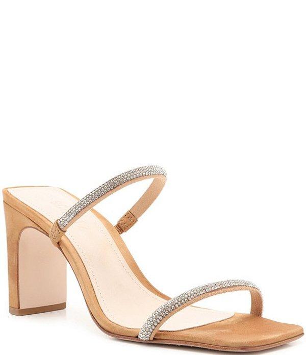 シュッツ レディース サンダル シューズ Salwa Crystal Strap Square Toe Dress Slide Sandals Honey Beige/Cristal