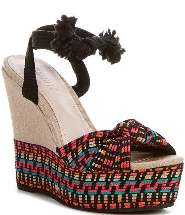 シュッツ レディース サンダル シューズ Deluna Ankle Tie Platform Multi Print Wedge Sandals Black/Black Multi