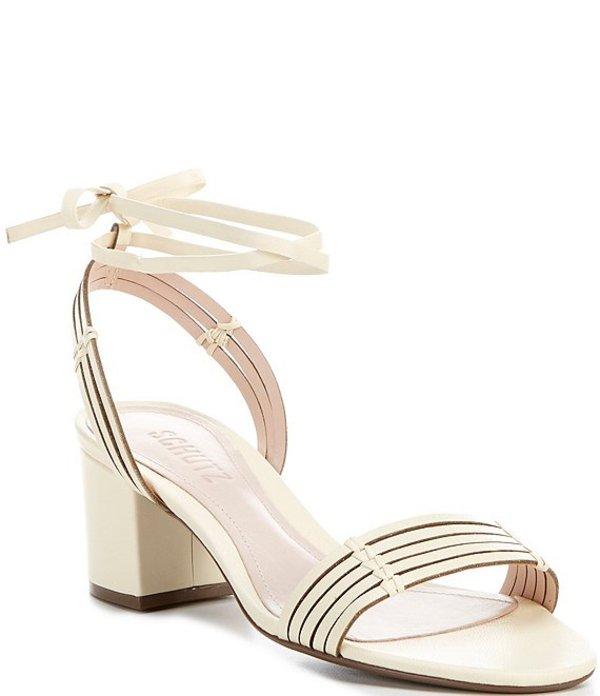 シュッツ レディース サンダル シューズ Najila Leather Ankle Tie Block Heel Dress Sandals Vanilla Ice