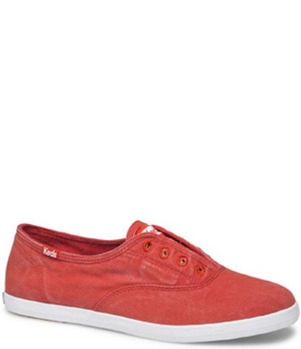 ケッズ レディース スニーカー シューズ Chillax Wash Twill Slip On Sneakers Red