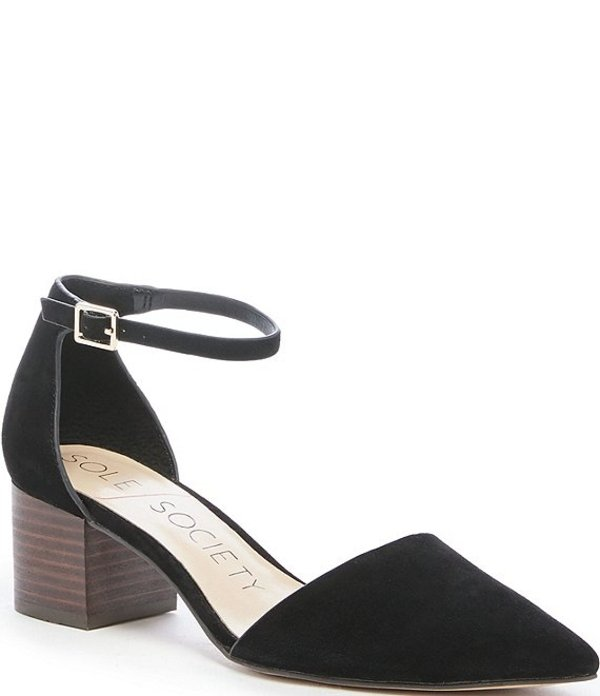 ソロソサエティ レディース ヒール シューズ Katarinaa Suede Stacked Block Heel Pointed Toe Pumps Black