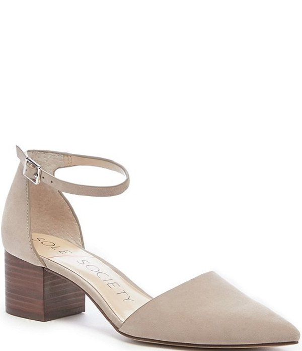 ソロソサエティ レディース ヒール シューズ Katarinaa Suede Stacked Block Heel Pointed Toe Pumps Taupe