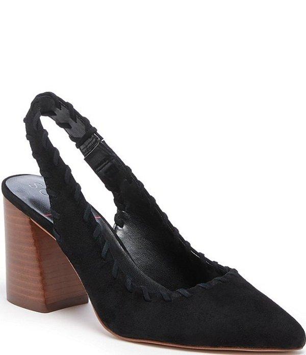 ソロソサエティ レディース ヒール シューズ Terema Suede Whipstitch Slingback Stacked Block Heel Pumps Black