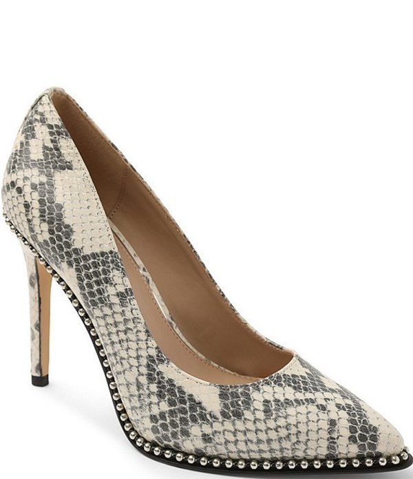BCBジェネレーション レディース ヒール シューズ Holli Snake Print Leather Bead Chain Stiletto Pumps Ivory Snake