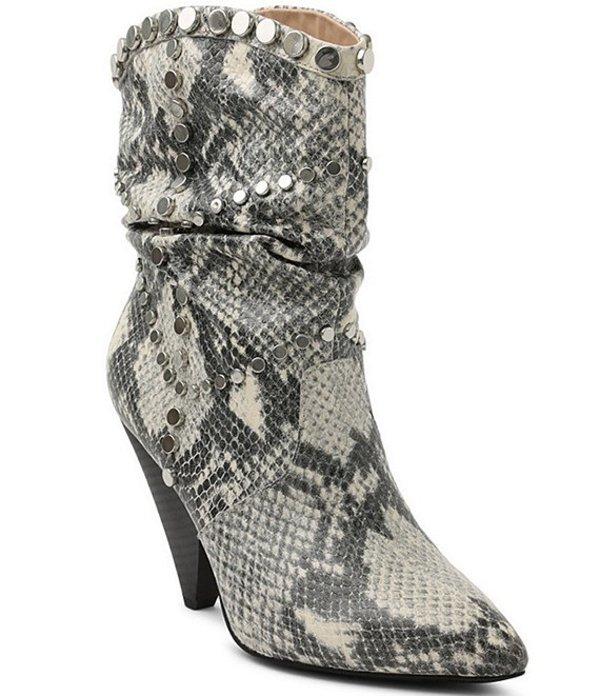BCBジェネレーション レディース ブーツ・レインブーツ シューズ Cebina Snake Print Leather Studded Cone Heel Western Booties Ivory Snake