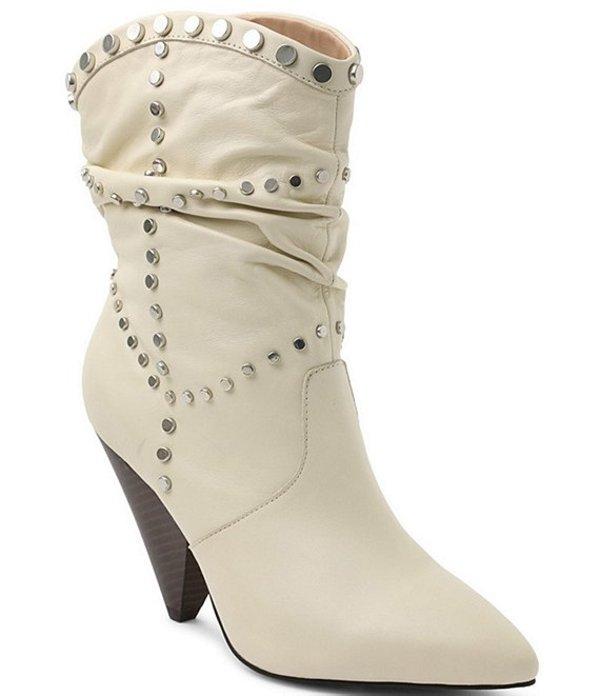 BCBジェネレーション レディース ブーツ・レインブーツ シューズ Cebina Studded Leather Cone Heel Western Booties Bianca