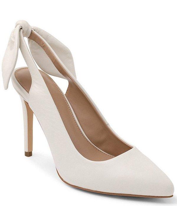 BCBジェネレーション レディース ヒール シューズ Henaya Leather Bow Back Stiletto Pumps White