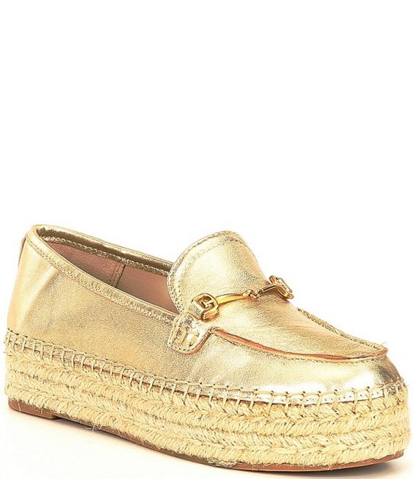 サムエデルマン レディース スリッポン・ローファー シューズ Corrin Leather Bit Buckle Detail Platform Espadrille Loafers Molten Gold