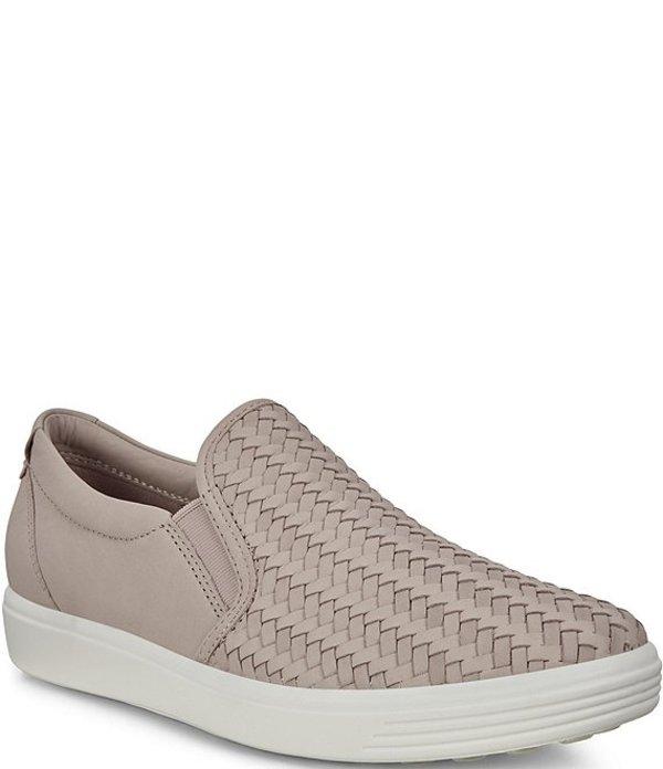 エコー レディース スニーカー シューズ Soft 7 Woven Leather Slip On II Sneakers Grey Rose