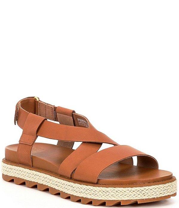 ソレル レディース サンダル シューズ Roaming Jute Leather Criss Cross Sandals Camel Brown
