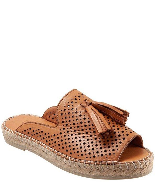 ブエノ レディース サンダル シューズ Navar Perforated Leather Tasseled Espadrille Slides Tan