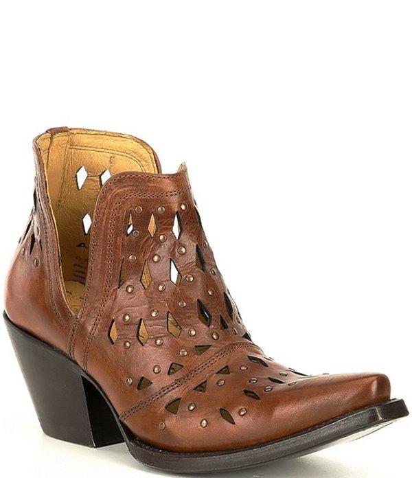 アリアト レディース ブーツ・レインブーツ シューズ Dixon Leather Perforated Studded Booties Amber