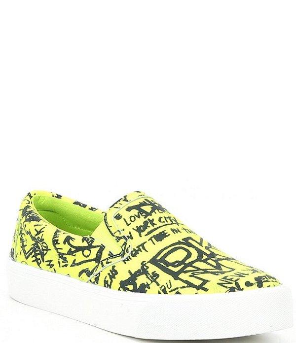 ダナ キャラン ニューヨーク レディース スニーカー シューズ Rev Graffitti Printed Leather Sneakers Neon Green