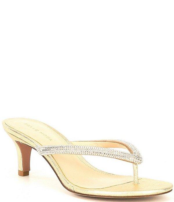 ペレモーダ レディース サンダル シューズ Eunice Embellished Thong Dress Sandals Platinum Gold Metallic