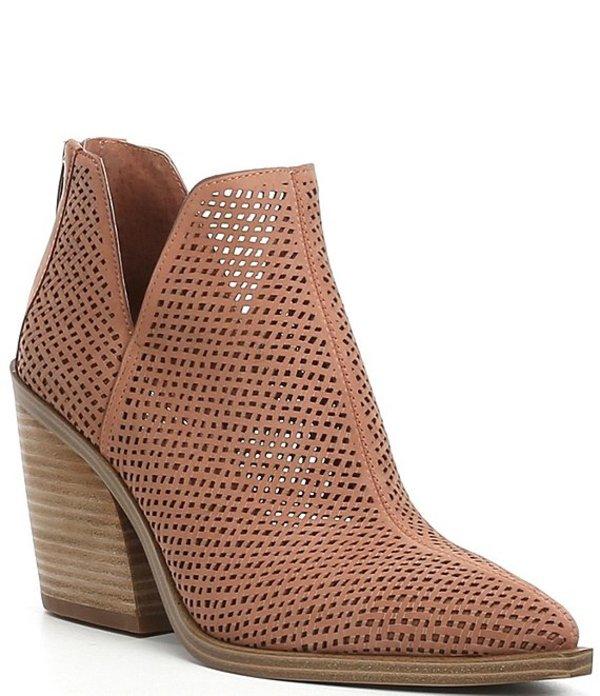 ヴィンスカムート レディース ブーツ・レインブーツ シューズ Gibbela Perforated Woven Block Heel Booties Light Pink