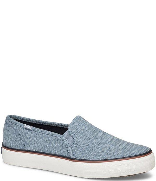 ケッズ レディース スニーカー シューズ Double Decker Varsity Canvas Slip On Sneakers Light Blue