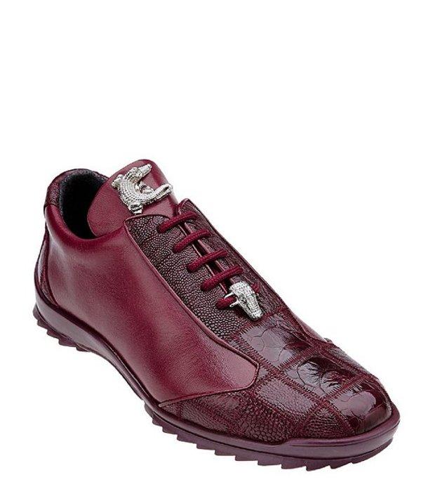 ベルヴェデール メンズ スニーカー シューズ Men's Paulo Sheer Ostrich Calfskin Leather Sneakers Dark Burgundy