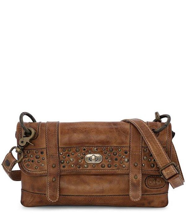 ベッドステュ レディース ショルダーバッグ バッグ Janice Stud Leather Flap Crossbody Bag Tan Rustic
