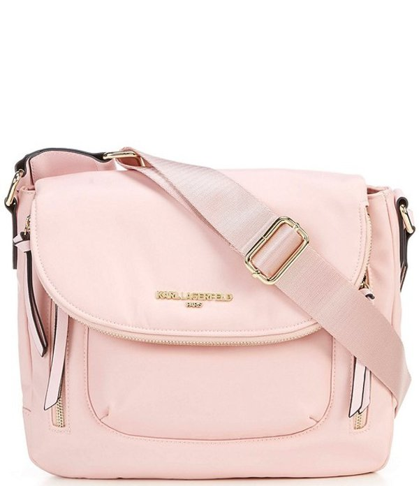 カール ラガーフェルド レディース ショルダーバッグ バッグ Cara Nylon Floral Magnetic Zip Messenger Bag Petal