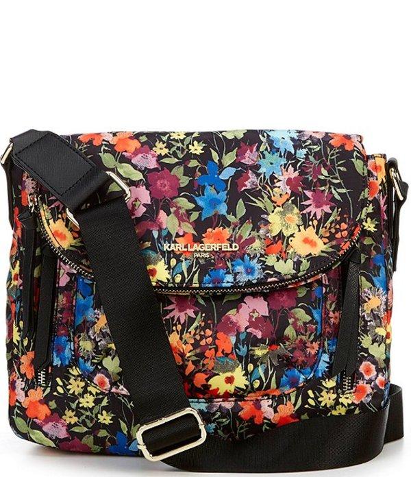 カール ラガーフェルド レディース ショルダーバッグ バッグ Cara Nylon Floral Magnetic Zip Messenger Bag Summer Floral