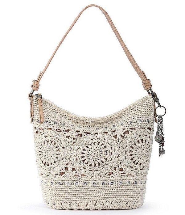 ザサック レディース ショルダーバッグ バッグ Collective Sequoia Hand-Crochet Zip Top Keychain Hobo Bag Natural Medallion