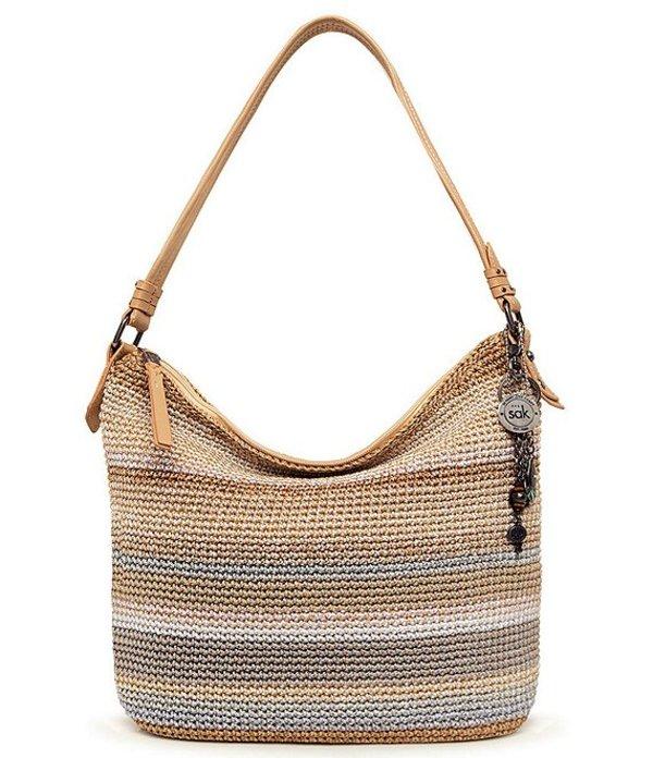ザサック レディース ショルダーバッグ バッグ Collective Sequoia Hand-Crochet Zip Top Keychain Hobo Bag Sand Stripe