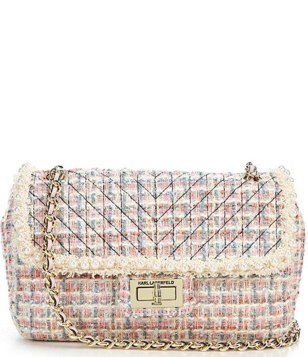 カール ラガーフェルド レディース ショルダーバッグ バッグ Agyness Tweed Shoulder Bag Candy Pink