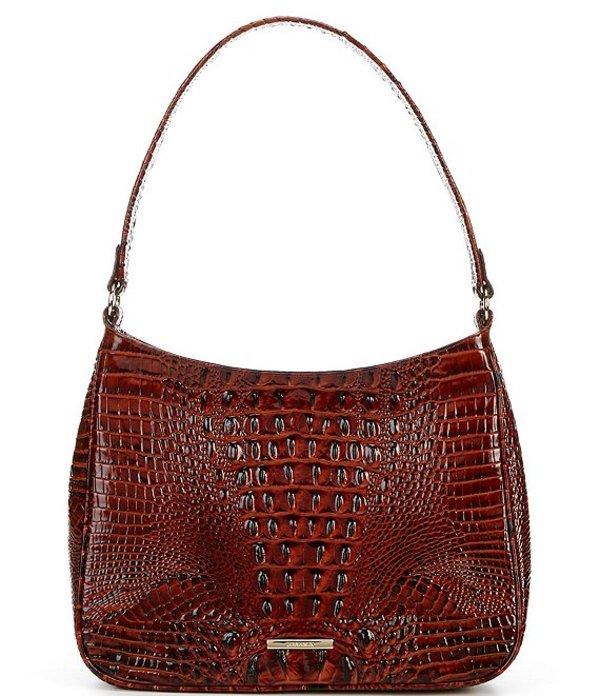 ブランミン レディース ショルダーバッグ バッグ Melbourne Collection Crocodile-Embossed Leather Zip Top Meg Shoulder Bag Pecan