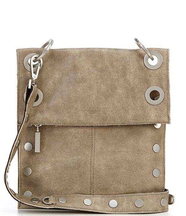 ハミット レディース ショルダーバッグ バッグ Montana Suede Brushed Studded Leather Medium Fold Zip Crossbody Bag Black/Pewter/Brushed Silver