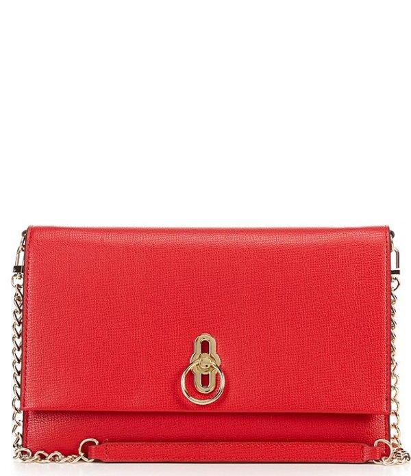 ジャンビニ レディース ショルダーバッグ バッグ Lock Item Flap Shoulder Bag Red